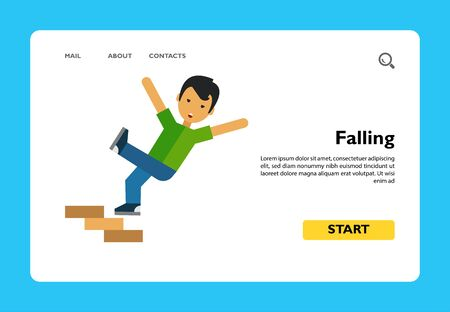 Flat isolated image of an crashing down staircase