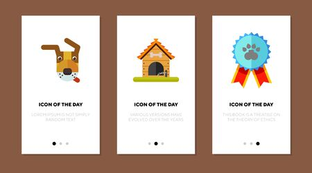Dog show thin flat icon set. Medal, kennel, watchdog isolated vector sign pack. Pets and animals concept. Vector illustration symbol elements for web design and apps