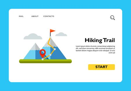Hiking trail with destination on top of mountain. Peaks, challenge, achievement. Mountain concept. Can be used for topics like sport, geology, geography, business.