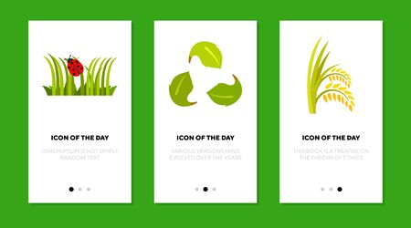 Green plants flat icon set. Grass, leaves, ears, bug isolated sign pack. Summer, wildlife, nature concept. Vector illustration symbol elements for web design