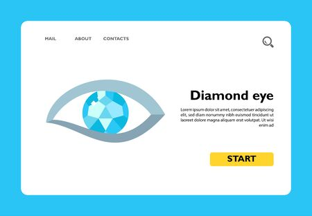 Vector icon of human eye with diamond. Brilliant, jewelry, bijouterie. Gems concept. Can be used for topics like precious stones, accessories, fashion Ilustración de vector