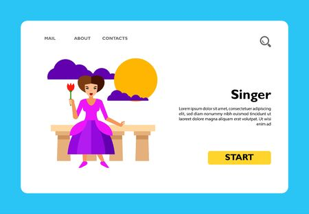 Icon of female singer performing. Actress, talent, play. Theater concept. Can be used for topics like show, opera, concert Stock Illustratie