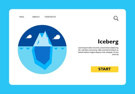 Multicolored vector icon of huge blue iceberg with tip over water surface and bigger part under water