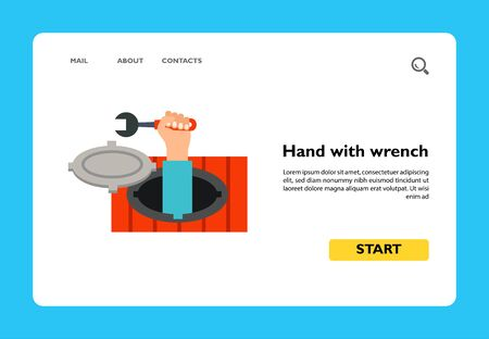 Vector icon of male hand holding wrench in sewer manhole. Plumber, sewer repair, water pipe accident. Plumber concept. Can be used for topics like plumbing service, water supply, repair service