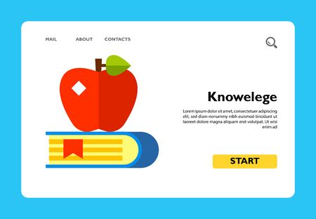 Multicolored vector icon of book with bookmark and red apple on it representing knowledge concept Illustration