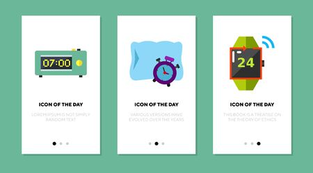 Alarm flat icon set. Timer, watch, morning isolated sign pack. Waking up, time measurement concept. Vector illustration symbol elements for web design and apps  イラスト・ベクター素材