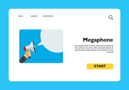 Hand holding megaphone and speech bubble. Attention, loud, promotion. Megaphone concept. Can be used for topics like communication, advertising, marketing. 向量圖像