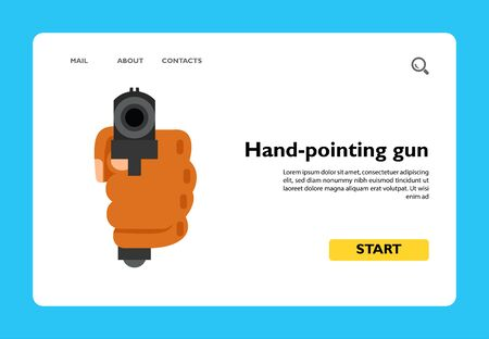 Icon of hand-pointing gun. Pistol, killer, shooting. Ghetto concept. Can be used for topics like criminal, terrorism, hooligan