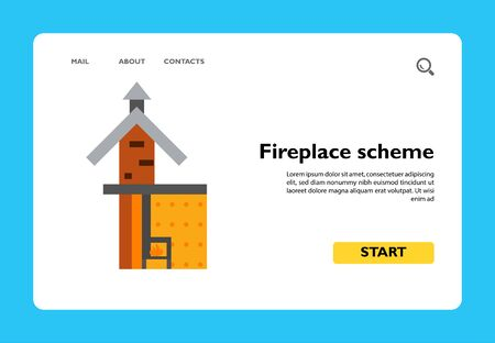 Icon of fireplace scheme. Chimney, system, construction. Architecture concept. Can be used for topics like flue, design, heating