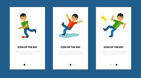 Stumbling person thin flat icon set. Feet, obstacle, dangerous isolated vector sign pack. Injury and accident concept. Vector illustration symbol elements for web design and apps