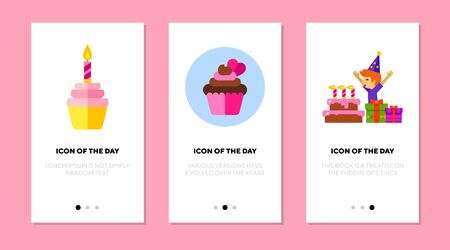 Birthday desserts flat icon set. Cupcake, muffin, cake with candles isolated sign pack. Childhood, party, festive sweet food concept. Vector illustration symbol elements for web design Ilustracja