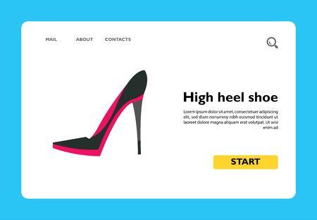 Vector icon of female high heel shoe. Stiletto heel, footwear, style. Fashion show concept. Can be used for topics like fashion, beauty, shopping