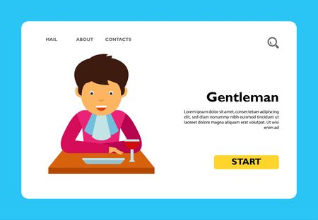 Icon of gentleman with handkerchief eating at table. Etiquette, lunch, meal. Dinner concept. Can be used for topics like restaurant, lifestyle, appetite