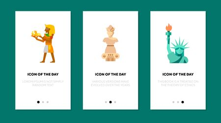 National monument flat icon set. Statue, pharaoh, column isolated sign pack. National symbol, tourist attraction concept. Vector illustration symbol elements for web design and apps