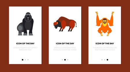 African animals flat icon set. Chimpanzee, gorilla, bull isolated sign pack. Safari, wildlife, nature, zoo concept. Vector illustration symbol elements for web design
