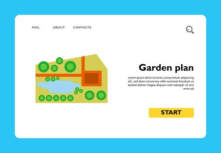Vector icon of garden plan with pond. Park, map, location plan. City landscape concept. Can be used for topics like landscaping, travel, environment