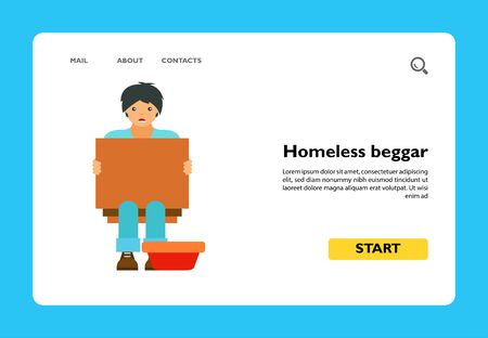 Icon of homeless beggar. Poverty, charity, help. Misery concept. Can be used for topics like welfare, refugee, unemployment