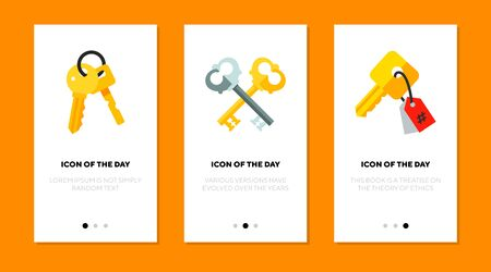 Bunch of keys thin flat icon set. Lock, house, safe isolated vector sign pack. Owning and locking concept. Vector illustration symbol elements for web design and apps Ilustrace