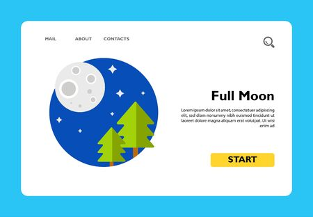 Illustration of full moon and fir trees. Night, stars, scenery, nature. Night concept. Can be used for topics like nature, night time, landscape Ilustração
