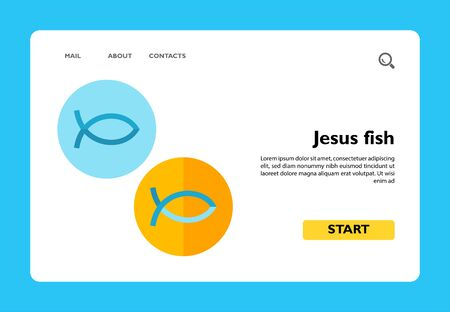 Icon of two Christian Jesus fish in blue and yellow circles