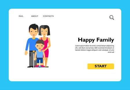 Multicolored vector icon of family of husband, wife and their son in front of them Çizim