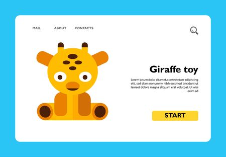 Multicolored vector icon of sitting giraffe toy