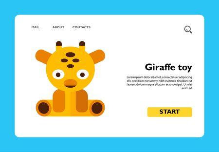 Multicolored vector icon of sitting giraffe toy Ilustração