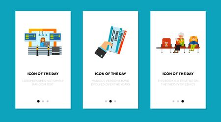 Depature area flat icon set. Reception, ticket, waiting room isolated sign pack. Airport, travelling concept. Vector illustration symbol elements for web design and apps