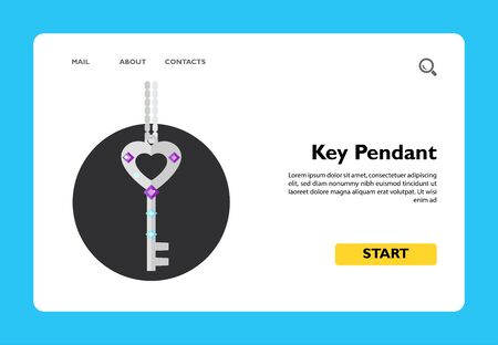 Key pendant on chain. Beautiful, accessory, elegant. Pendant concept. Can be used for topics like jewelry, fashion, business. 일러스트