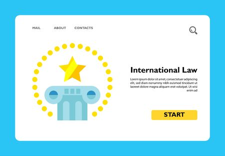 Multicolored vector icon of pillar with star above and circle of dots around representing international law Ilustrace