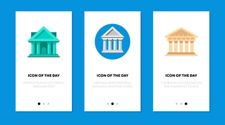 Greek temple flat icon set. Facade, column, museum isolated sign pack. Architecture, antiquity concept. Vector illustration symbol elements for web design and apps