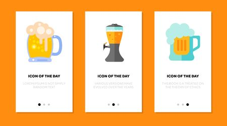 Beer pint thin flat icon set. Drink, glass, foam isolated vector sign pack. Beverage and alcohol concept. Vector illustration symbol elements for web design and apps Ilustração