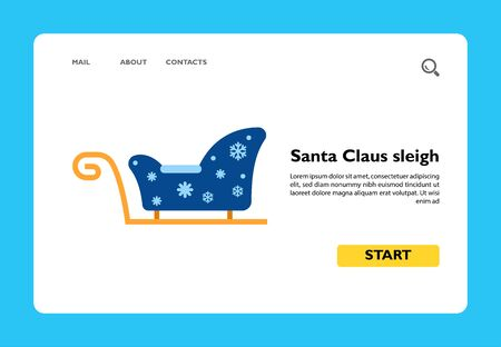 Icon of blue Santa Claus sleigh. Christmas, winter, transportation. Holiday concept. Can be used for topics like Christmas traditions, winter holiday, presents