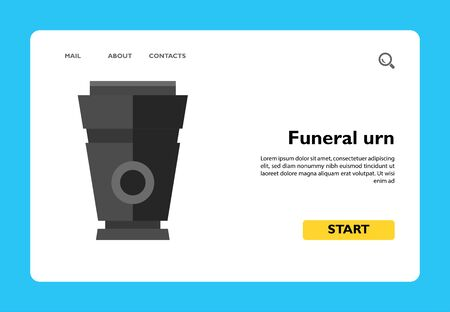 Icon of funeral urn. Corpse, grief, embalming. Funeral service concept. Can be used for topics like death, ceremony, mourning Vettoriali