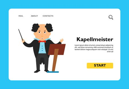 Icon of Kapellmeister with music stand. Master, profession, conductor. Music concept. Can be used for topics like choir, orchestra or performance