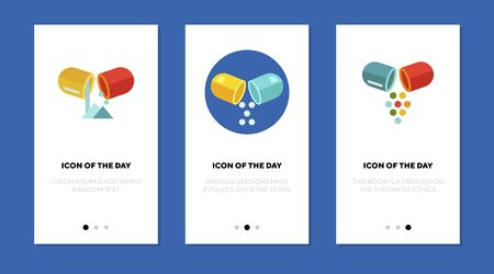 Capsule powder flat icon set. Drug, remedy, pills isolated sign pack. Treatment, pharmacy, medicine concept. Vector illustration symbol elements for web design