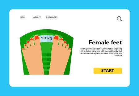 Female manicured feet on weight scale. Weight, loss, measuring. Fitness and weight concept. Can be used for topics like sport, dieting, self-improvement