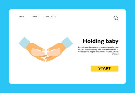 Icon of hands holding baby. Childhood, family, adoption. Parenthood concept. Can be used for topics like protection, safety, childbirth Ilustracja