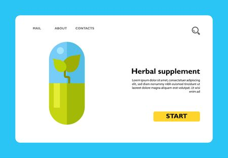 Vector icon of herbal supplement. Vitamin, biotechnology, homeopathic pill. Herbs concept. Can be used for topics like pharmacy, medicine, health