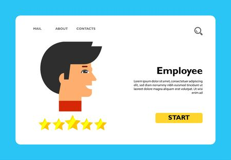 Head profile of smiling man and five stars below. Leadership, success, professionalism. Star employee concept. Can be used for topics like business, management, consulting, recruitment.