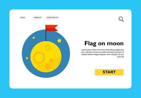 Multicolored vector icon of red flag on moon Ilustrace