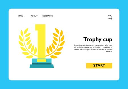 Icon of first place trophy cup. Wreath, golden statuette, award. Winning concept. Can be used for topics like leadership, competition or sport