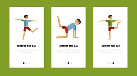 Stretching person thin flat icon set. Yoga, relaxing, pilates isolated vector sign pack. Sport and health concept. Vector illustration symbol elements for web design and apps