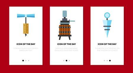 Winery equipment flat icon set. Corkscrew, wooden barrel isolated sign pack. Wine production, industry, business, celebration concept. Vector illustration symbol elements for web design Ilustração