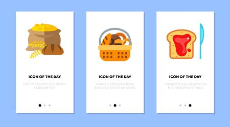 Bread flat icon set. Grain, basket, toast with gam isolated sign pack. Food, bakery, breakfast concept. Vector illustration symbol elements for web design