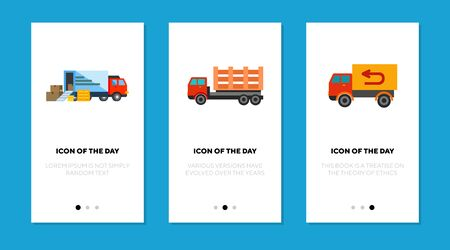 Cargo carriage flat icon set. Freight, traffic, truck isolated vector sign pack. Delivery and transportation concept. Vector illustration symbol elements for web design and apps