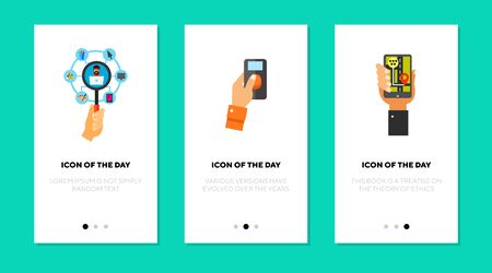 Navigation and control flat icon set. Phone, network, remote isolated vector sign pack. Technology and mobile device concept. Vector illustration symbol elements for web design and apps