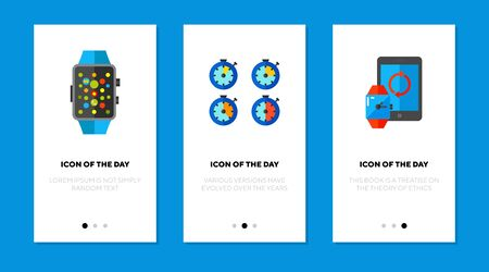 Metering devices flat icon set. Data, measure, collection isolated vector sign pack. Analyzing and technology concept. Vector illustration symbol elements for web design and apps Vektorové ilustrace