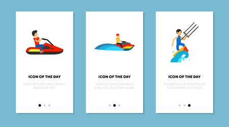 Water racings flat icon set. Boat, speed, extreme isolated vector sign pack. Sport and activity concept. Vector illustration symbol elements for web design and apps