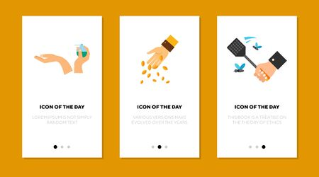 Day-to-day activity flat icon set. Care, holding, feeding isolated vector sign pack. Motion and action concept. Vector illustration symbol elements for web design and apps